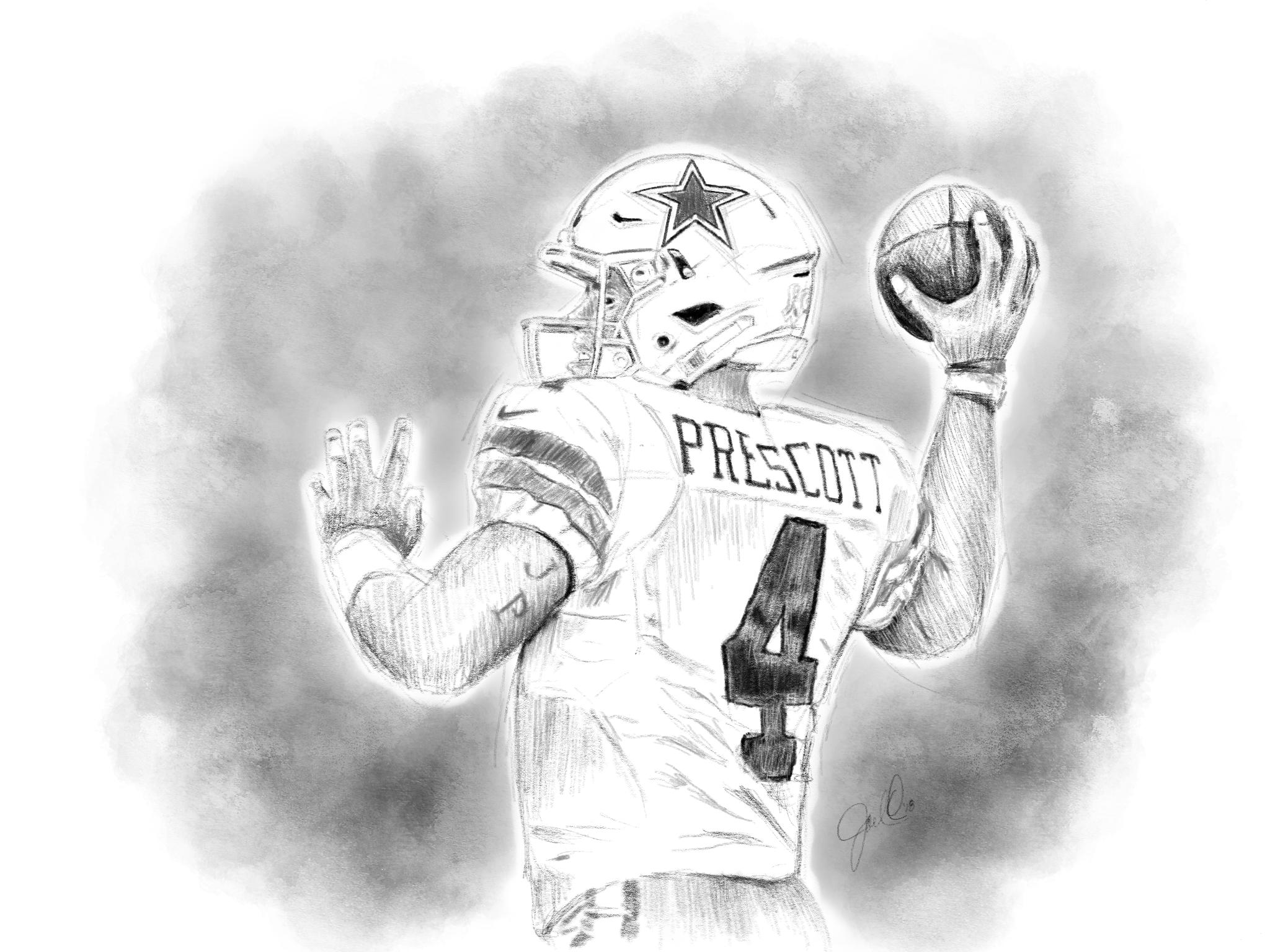 Dak Prescott Pencil Drawing By Joel Ortega Cowboys Nation Dak Prescott Cowboys
