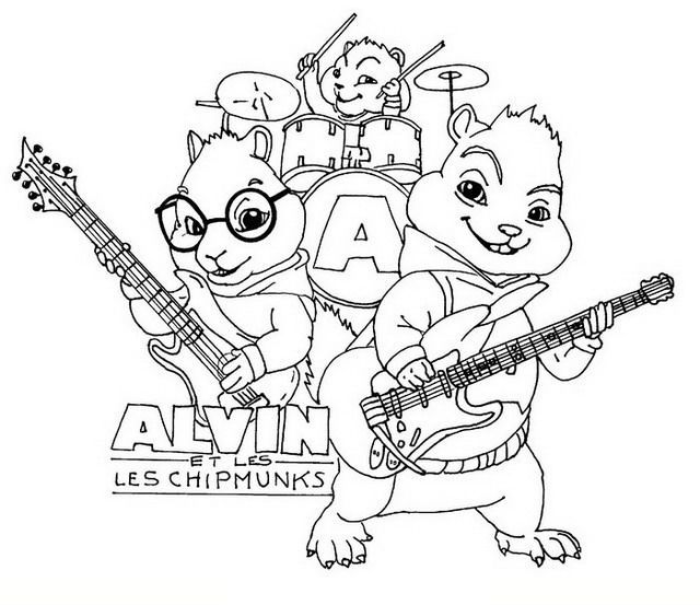 Alvin and the chipmunks playing a musical instrument coloring picture for kids