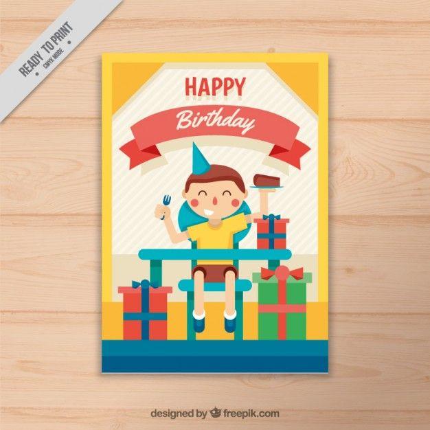 Nice kid celebriting his birthday card Free Vector