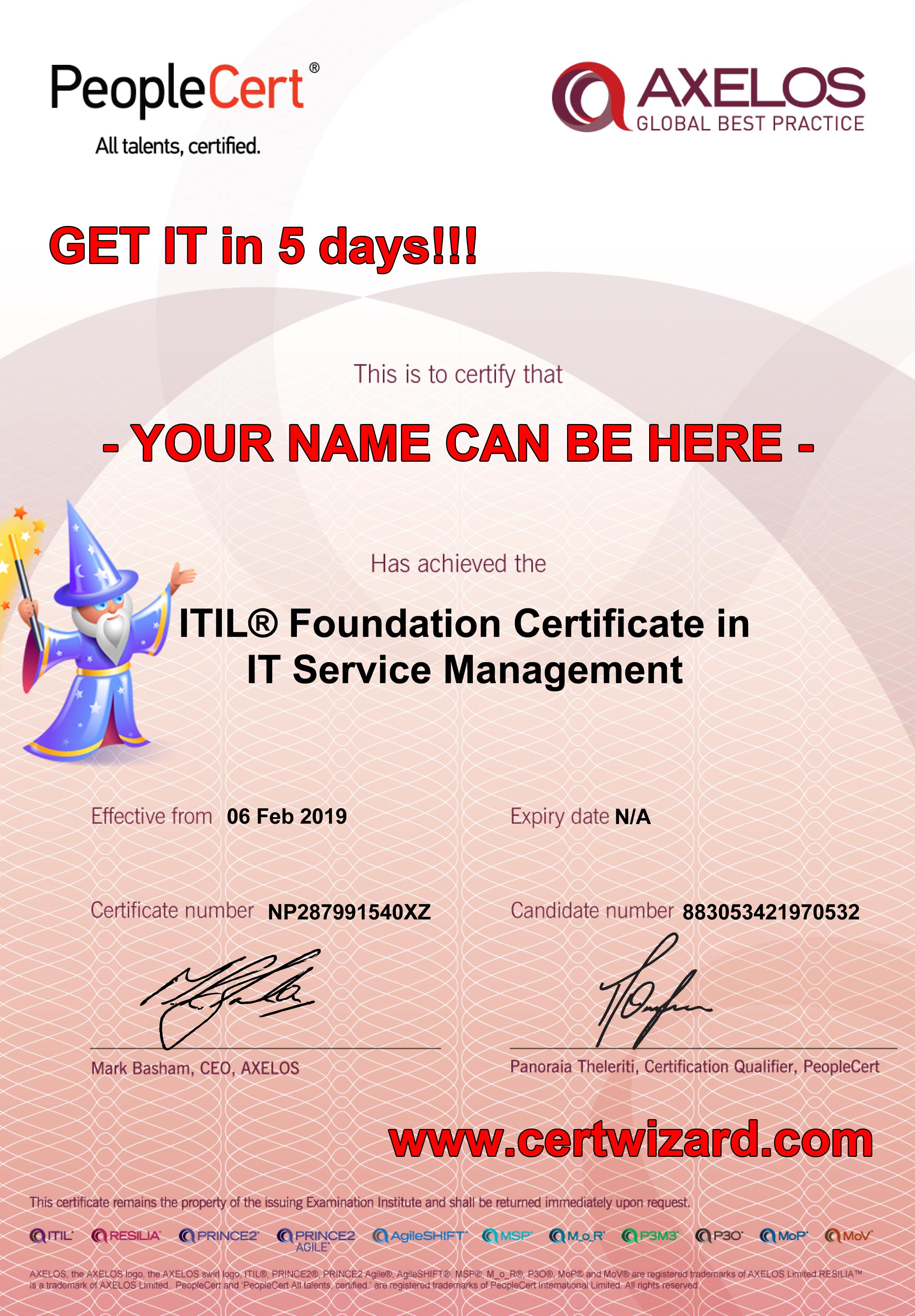 Itil Certification Certificate Tutore