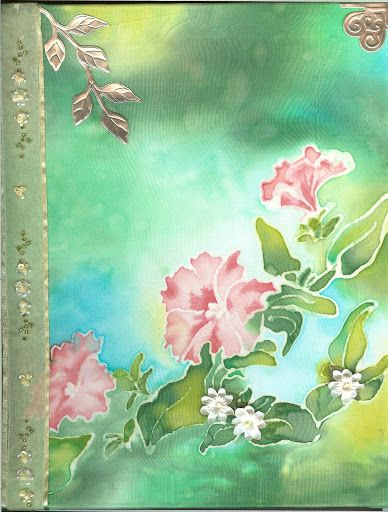 Misc Art - Silk Paint Journal Cover with .999 pure silver emblishments