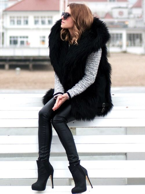 Jumbo fur vest+leather leggings= a little bit of amazing