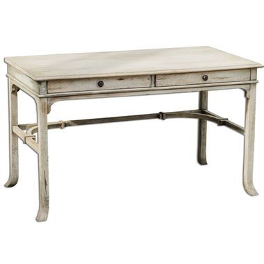 Bridgely Aged Writing Desk Plantation-Grown Mango Wood Makes Up The Solid, Carved And Dovetail Construction With Deep-Grained Mindi Veneer In An Aged White Finish With Antique Brass Drawer Pulls.