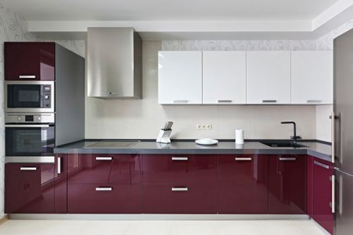 Image Result For Maroon Color Kitchen Cabinets Modern