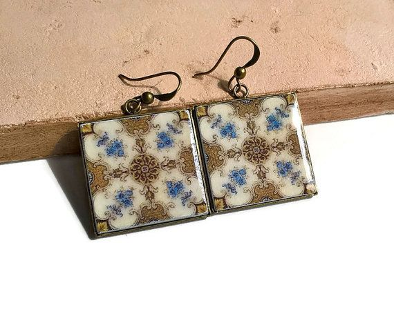 Portugal antique majolica tiles replica earrings tile by XTory