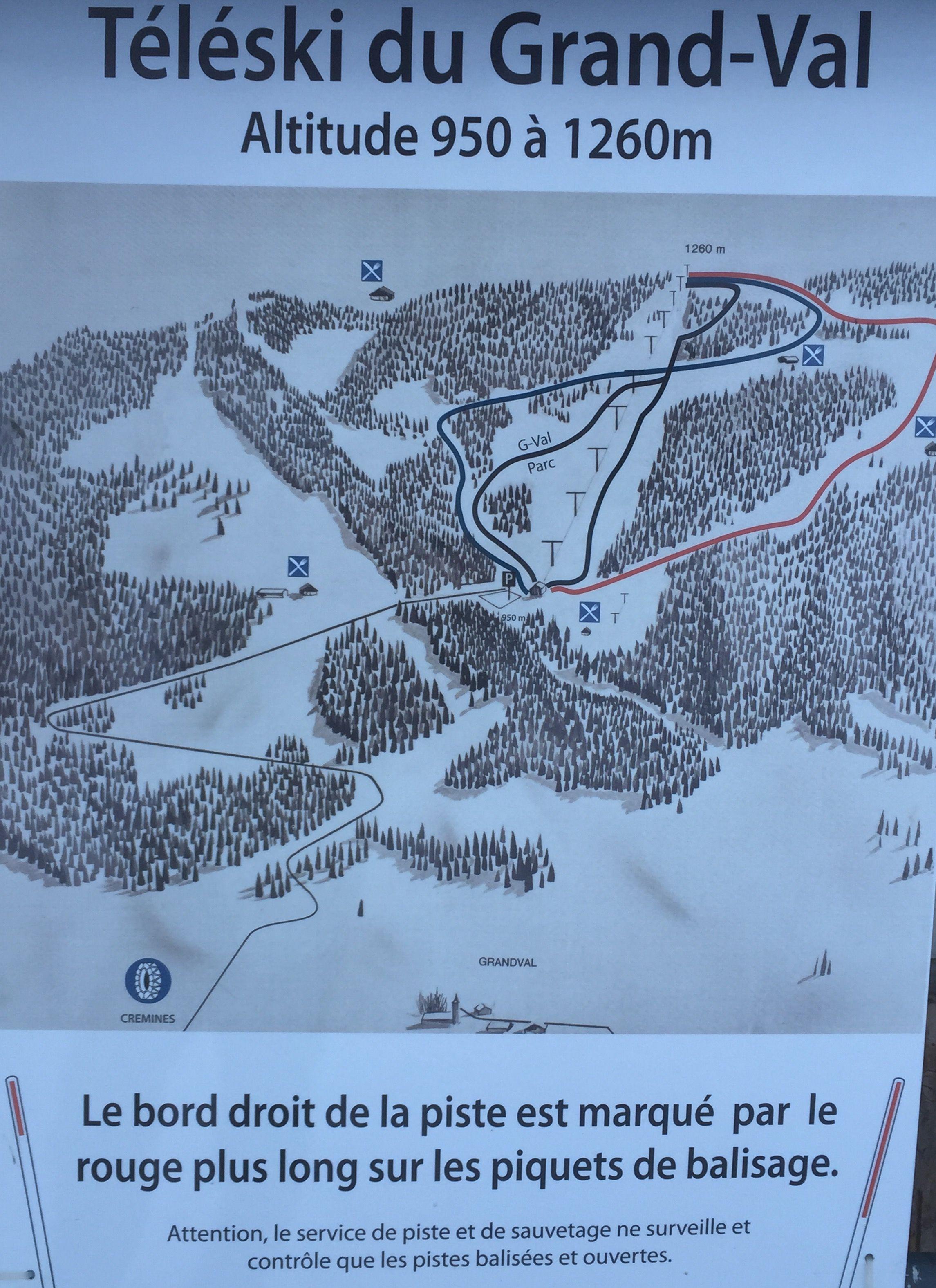 Téléski du Grandval: Le plan de la piste