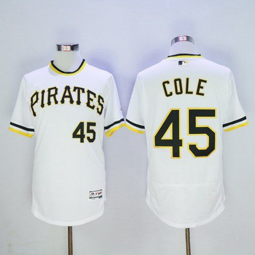 Men's Pittsburgh Pirates #45 Gerrit Cole White Pullover 2016 Flexbase Majestic Baseball Jersey