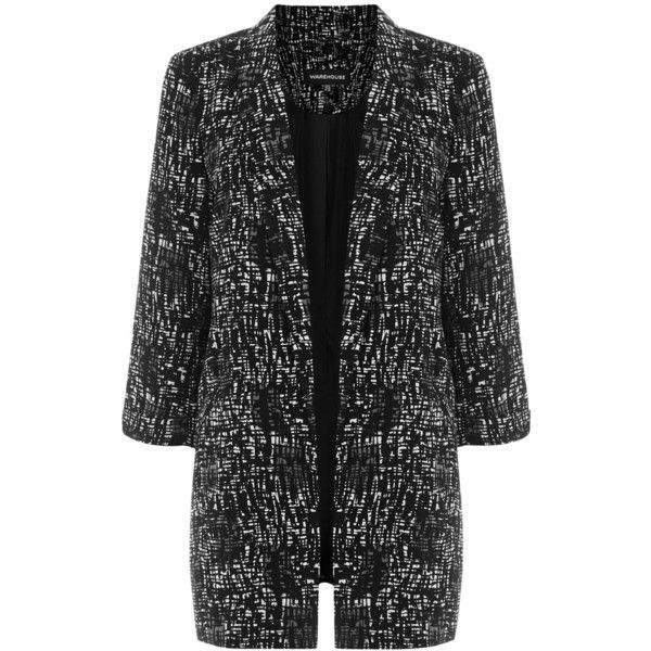 Warehouse Texture Print Longline Blazer, Black ($14) ❤ liked on Polyvore featuring outerwear, jackets, blazers, print jacket, open front jacket, long blazer, print blazer and long line blazer