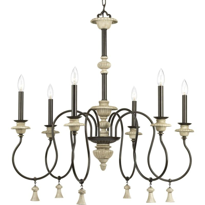 Progress lighting p400069 bergamo 6 light 32 wide chandelier forged bronze indoor lighting chandeliers