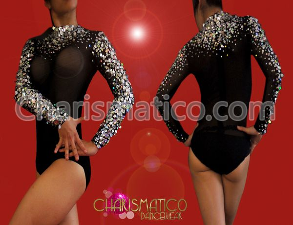 Charismatico Dancewear Store - CHARISMATICO Crystal embellished black long sleeve mockneck leotard style body stocking, $169.00 (http://www.charismatico-dancewear.com/charismatico-crystal-embellished-black-long-sleeve-mockneck-leotard-style-body-stocking/)