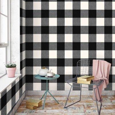 Buffalo Plaid Peel Stick Wallpaper Black Threshold In 2020 Peel And Stick Wallpaper Plaid Wallpaper Home Wallpaper
