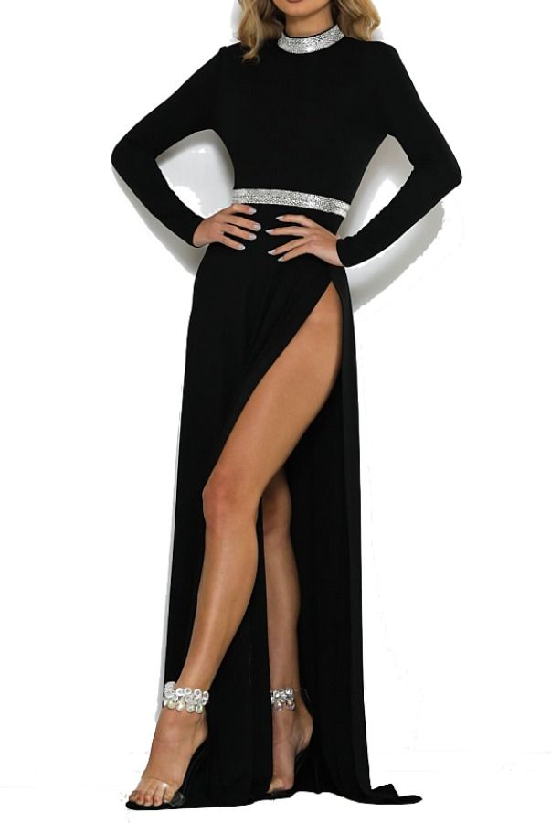 08c5d8204f6e Abyss by Abby Medusa Black Long Sleeve Evening Gown Open Back   Poshare The  Abyss by Abby Medusa Gown is a showstopper! With delicate sequin  embellishment ...