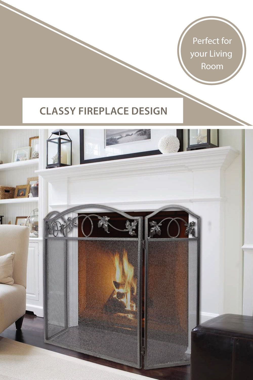 Amagabeli 3 Panel Pewter Wrought Iron Fireplace Wrought Iron Fireplace Screen Fireplace Fireplace Screen