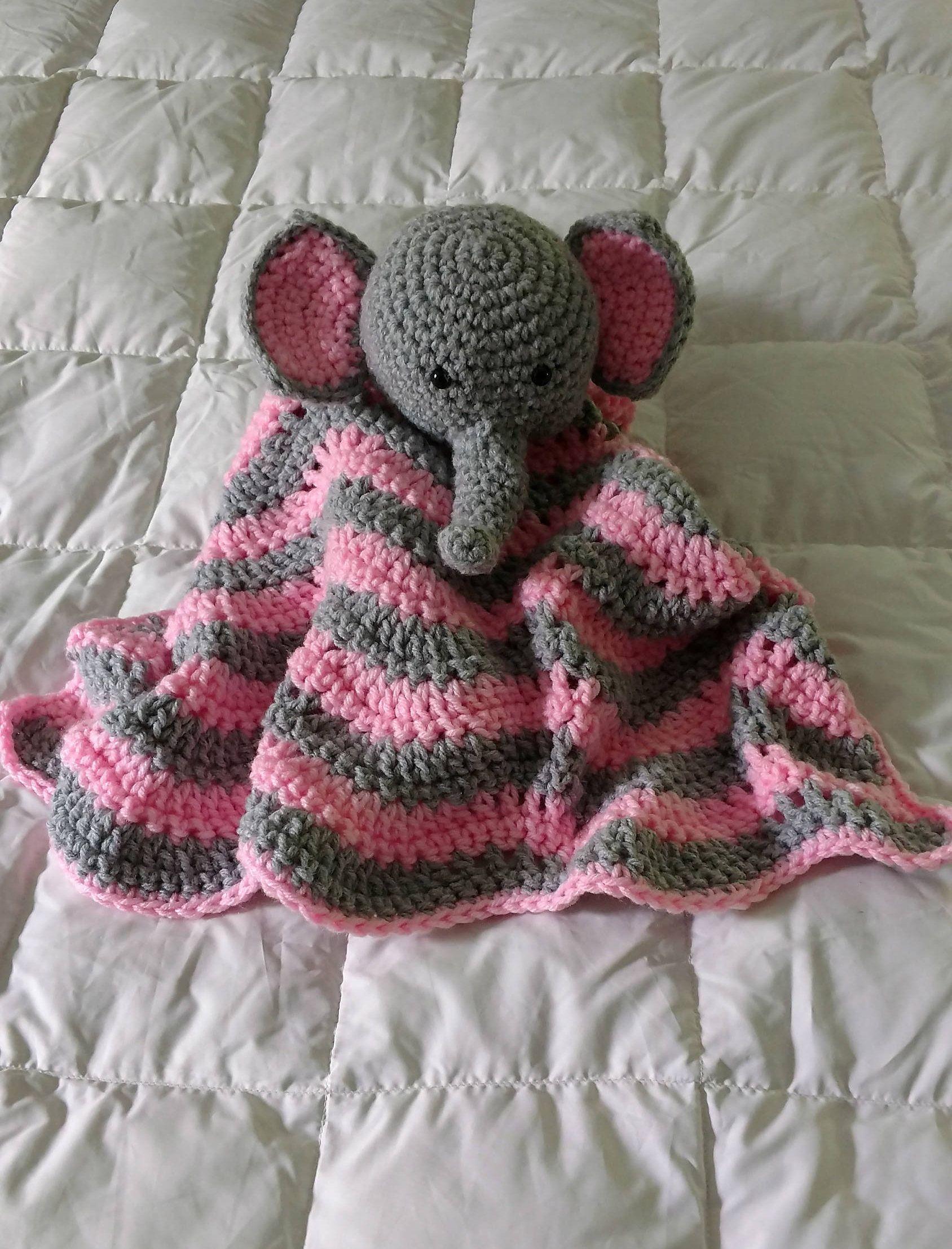 Little Elephant Baby Blanket Crochet, Cuddle Baby Toy, Baby Snuggle ...