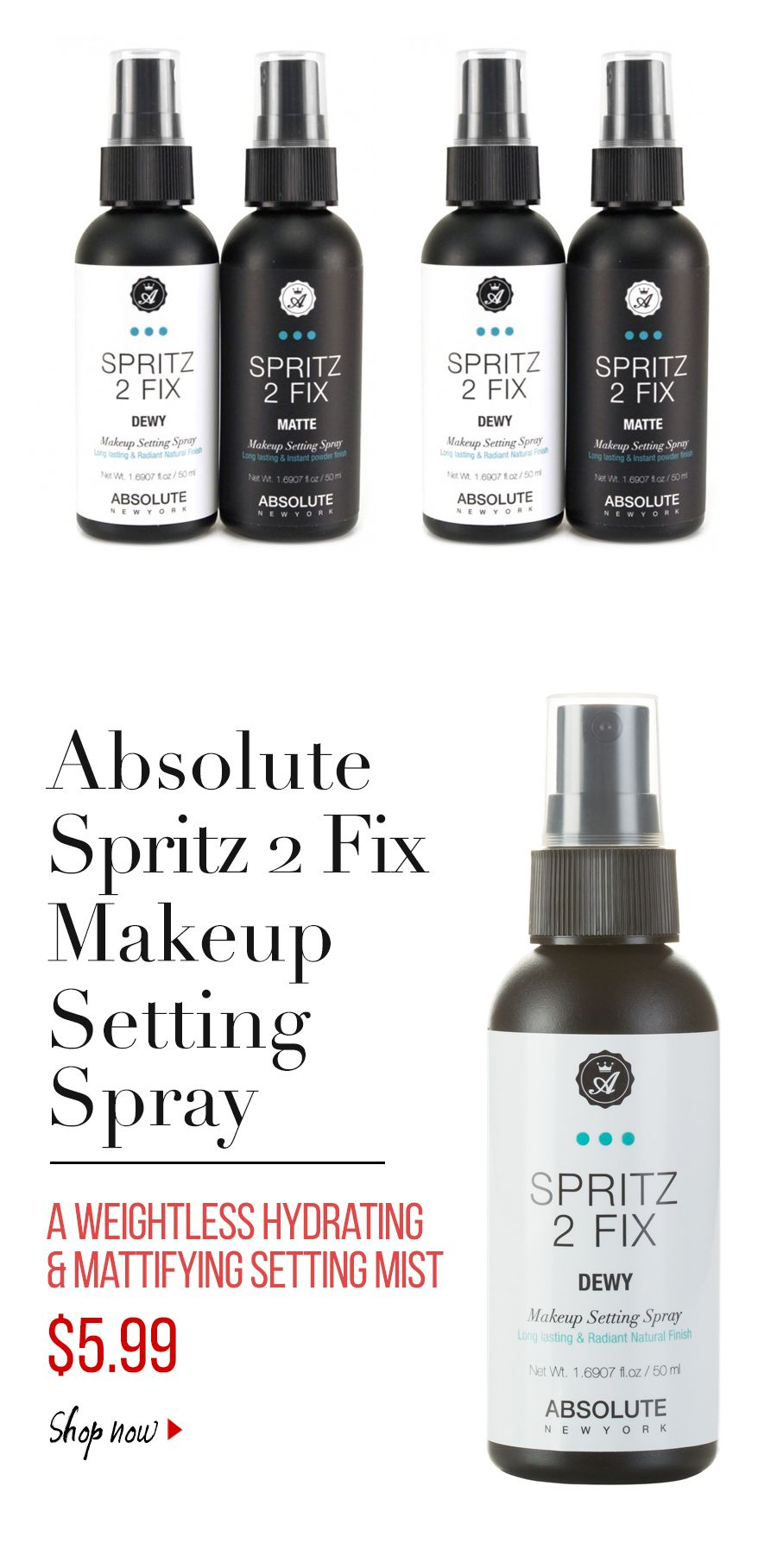 Absolute Spritz 2 Fix Makeup setting Spray Makeup