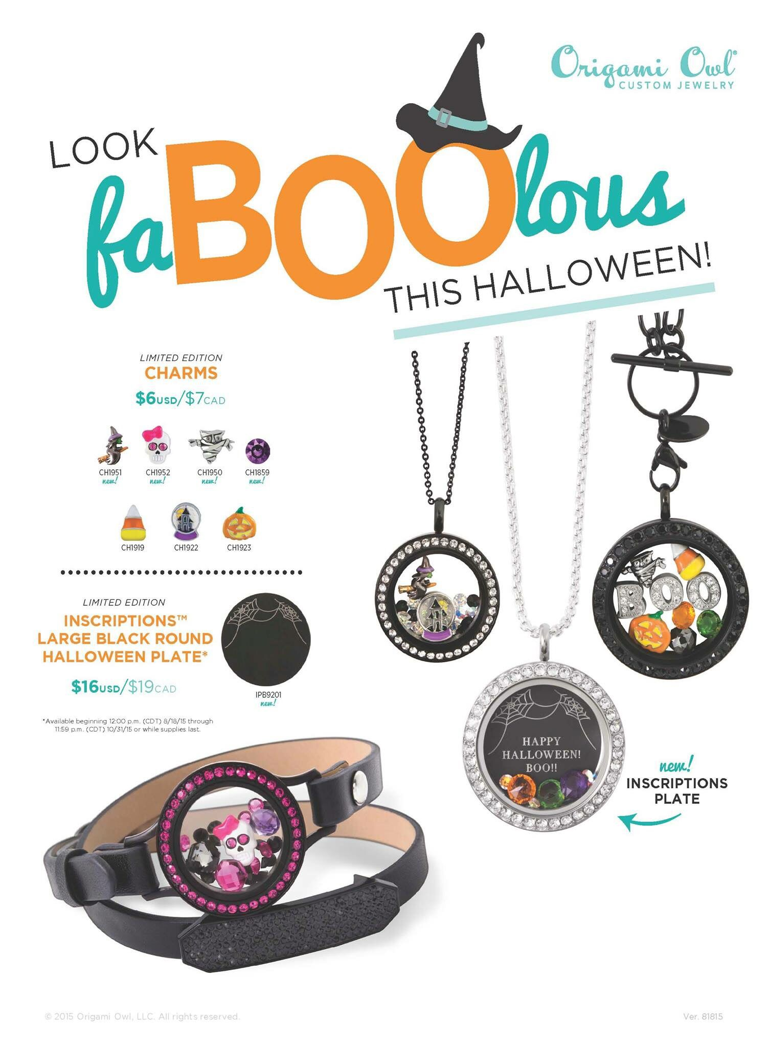 Check out our #HalloweenCharms and the #LargeBlackInscriptionsPlate #Halloween #TwistLocket #WrapBracelet #CharmedLife #OrigamiOwl #Luvpam luvpam.origamiowl.com