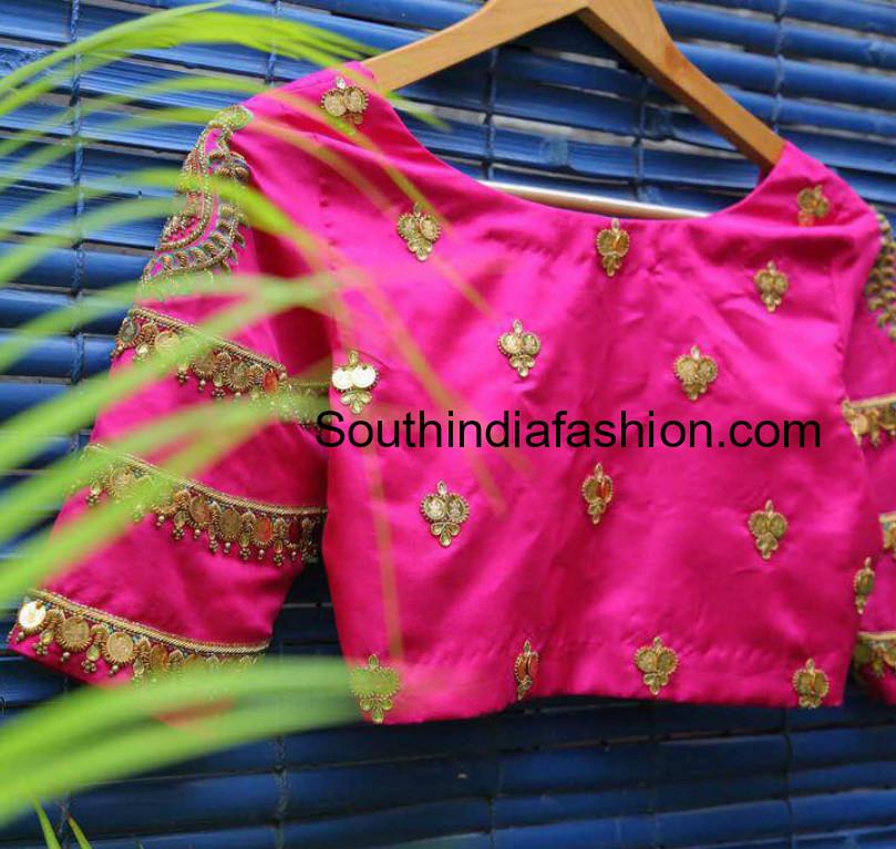 35ff0d0bd2293 Kasu Embellished Blouse Designs for Pattu Sarees