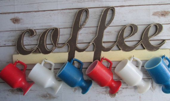 Coffee Sign With Cup Hooks Decorative Wall Letters Hanger Your Choice Of Colors