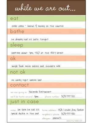 your babysitter is usually Parenting Pinterest Babysitting - order sheet template
