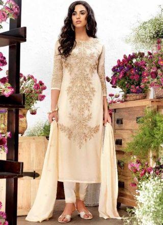 831ba7928 Beige Embroidery Work Georgette Silk Designer Fancy Party Wear Churidar Suit  http   www