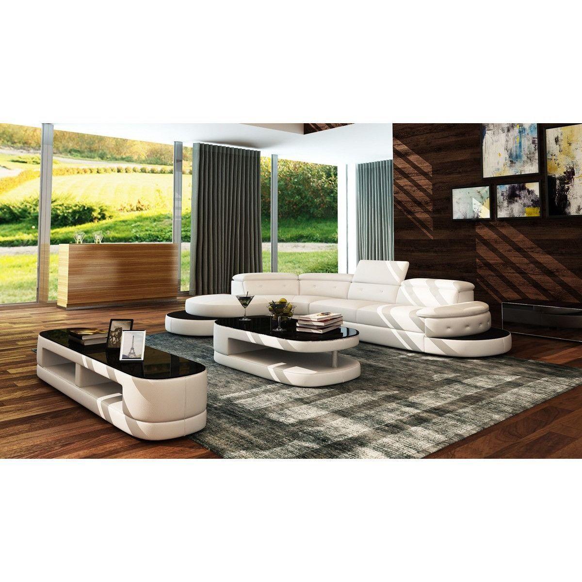 Divani Casa 5125 Modern White u0026 Black Bonded Leather Sectional Sofa  sc 1 st  Pinterest : modern bonded leather sectional sofa - Sectionals, Sofas & Couches