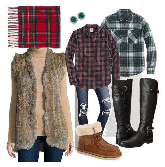 """""""Fur, Plaid & Leather"""" by neccles82 on Polyvore featuring American Eagle Outfitters, J.Crew, Love Token, Thomas Mason, Effy Jewelry, Naturalizer, UGG Australia, Dr. Martens, women's clothing and women"""