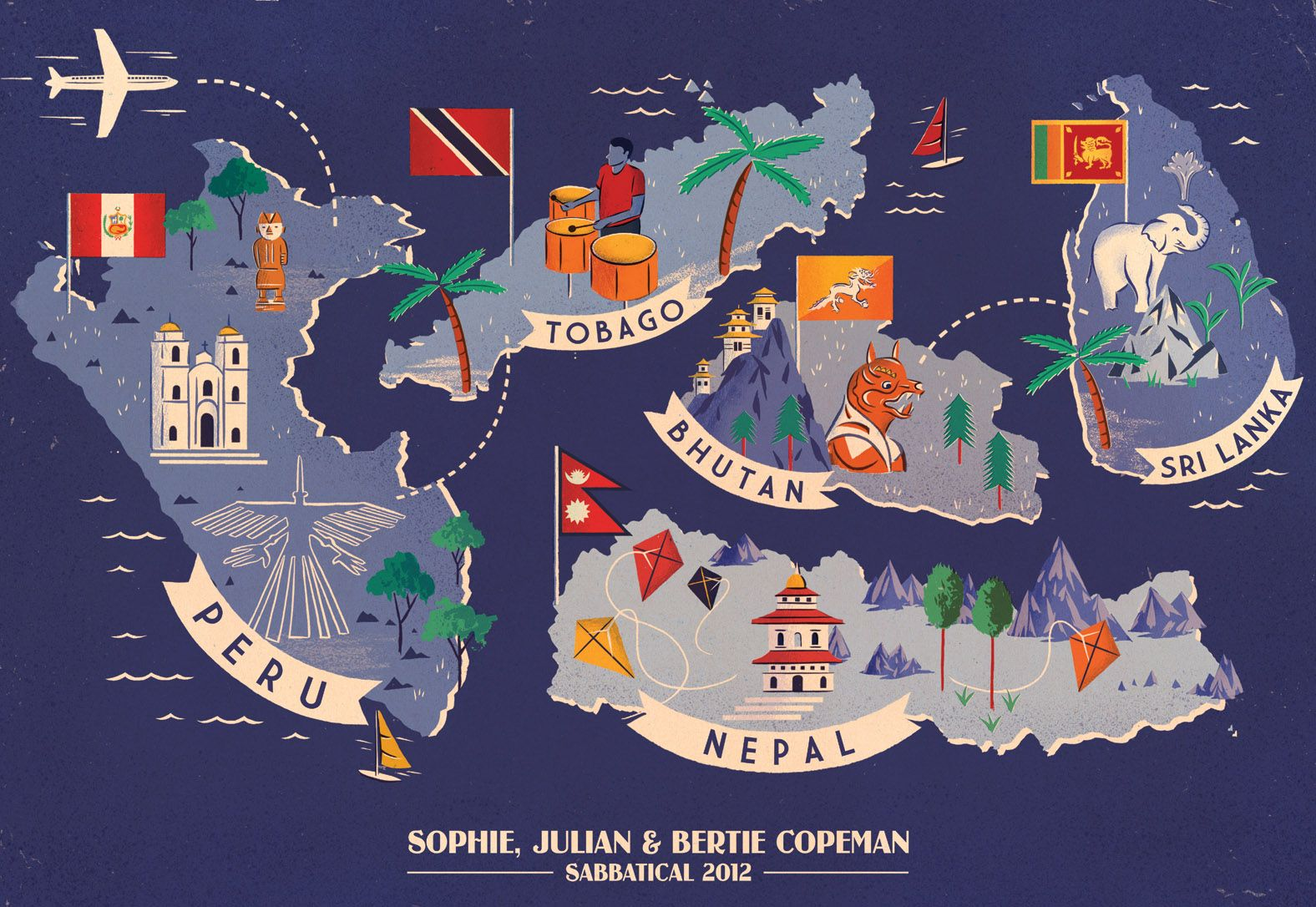 Adam Hancher Illustration Personalised Travel Map Reminds Me Of Felicity And Geoff S Peregrinations 표지