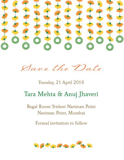 marigold strings save the date cards wwwinksedgecom goa wedding diwali