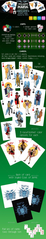 Game Assets Mafia Card Set & Poker Chips Game assets