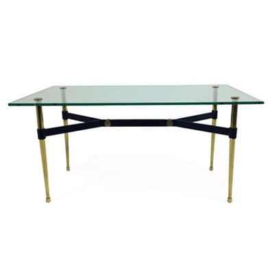 Vintage Black Metal Y Base Coffee Table With Brass Legs And Screw