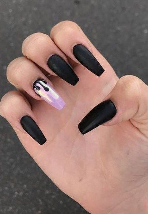 46 Trendy Black And Purple Coffin Nails Ideas For Women 2019 Drip Nails Long Nails