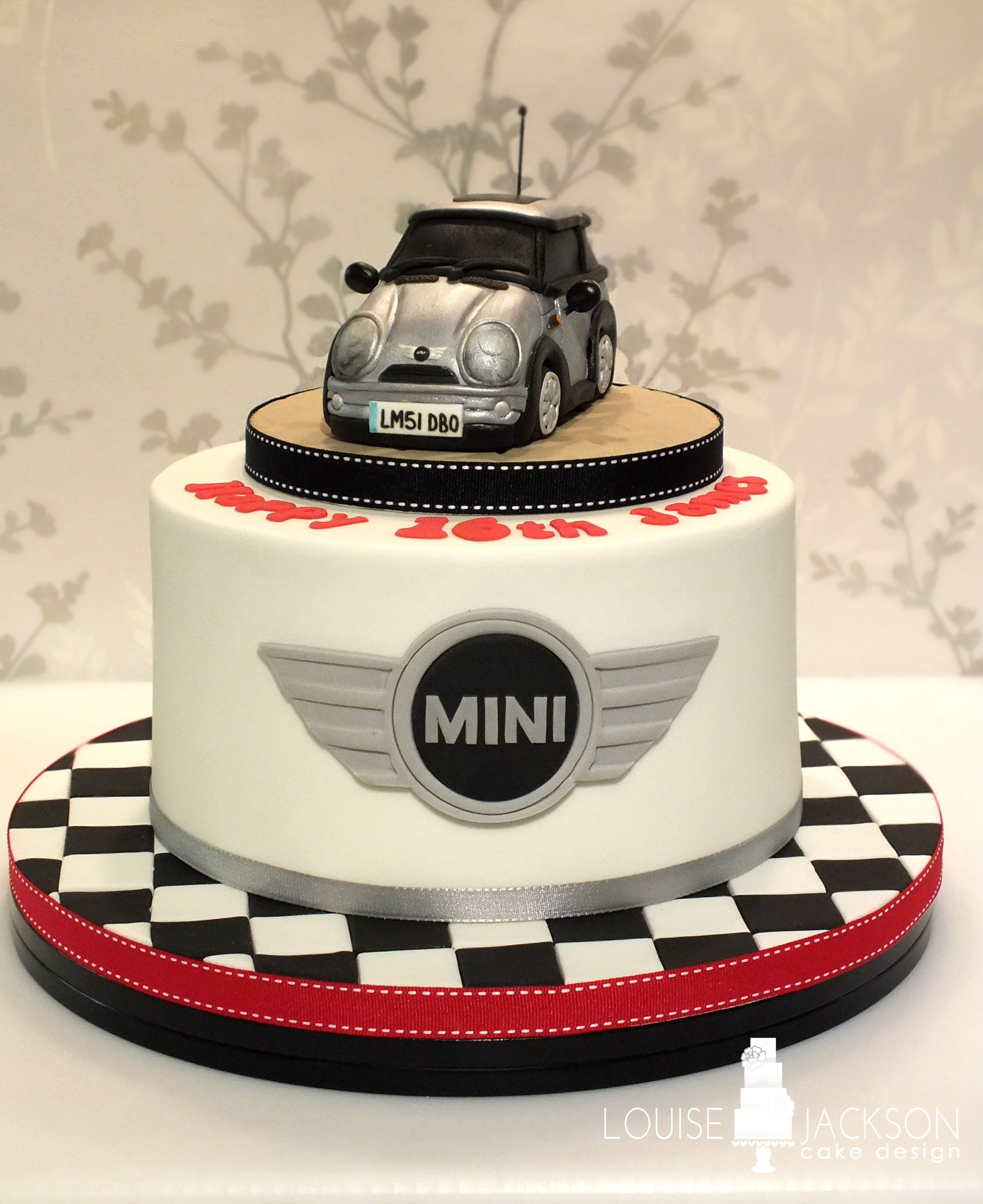 Mini car cake with chequered board and mini logo Celebration Cakes
