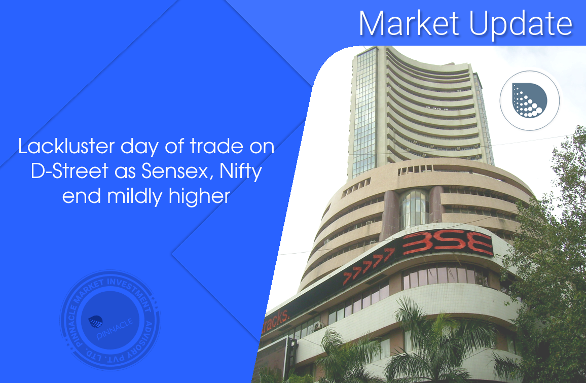 Benchmark indices ended the session on a mildly higher