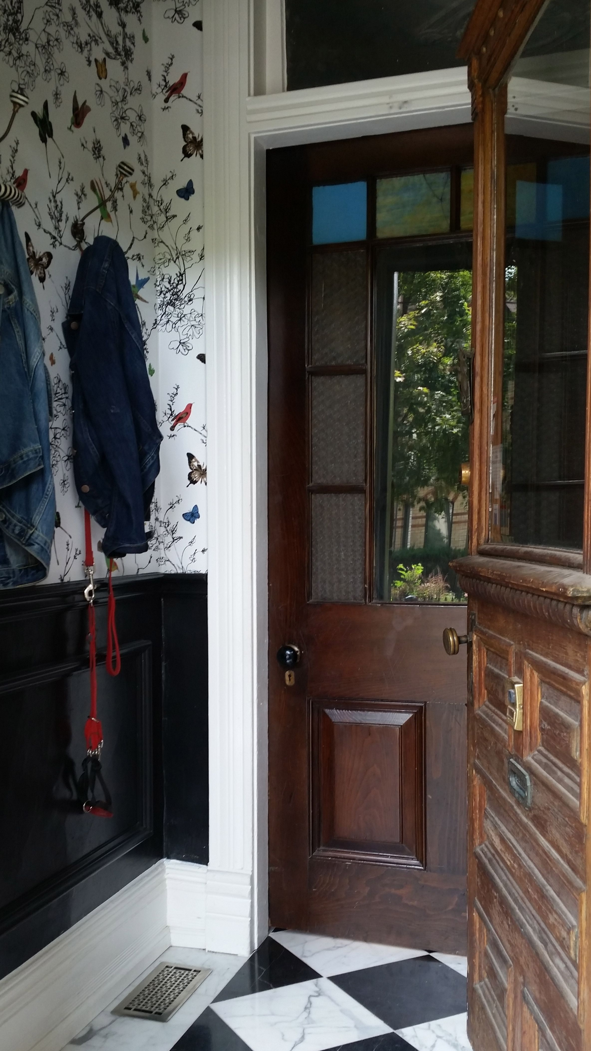 Small Foyer / Black Panel Moulding / Schumacher Birds