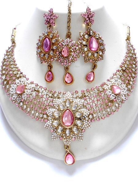 2278dd54c9 Unique and Exclusive Indian Fashion Jewelry sets, this fashion jewellery  sets contains a necklace, matching pair of earrings, and mangtikka.
