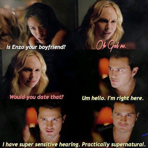 Image De Caroline Date And Enzo With Images Vampire Diaries
