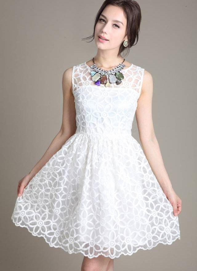 White Sleeveless Organza Embroidery Dress | Pinterest | Embroidery ...