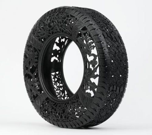 It's hard to believe that each one of these used car tires is hand-carved by Belgian artist Wim Delvoye. The collection of tires features intricate pattern work with various motifs, like floral and Art Deco.