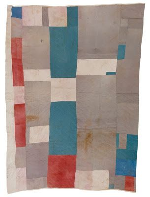 Missouri Pettway's Blocks and Strips quilt (below), created in 1942, the quilt is composed of deconstructed clothing that belonged to her re...