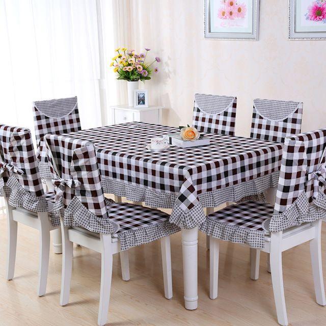 9 unids set manteles con fundas para sillas esteras bordado mantel de lino de tabla cubierta de - Manteles mesas grandes ...