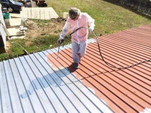 Sealing A Rusty Metal Roof Metal Roof Repair Metal Roof Coating Roof Paint