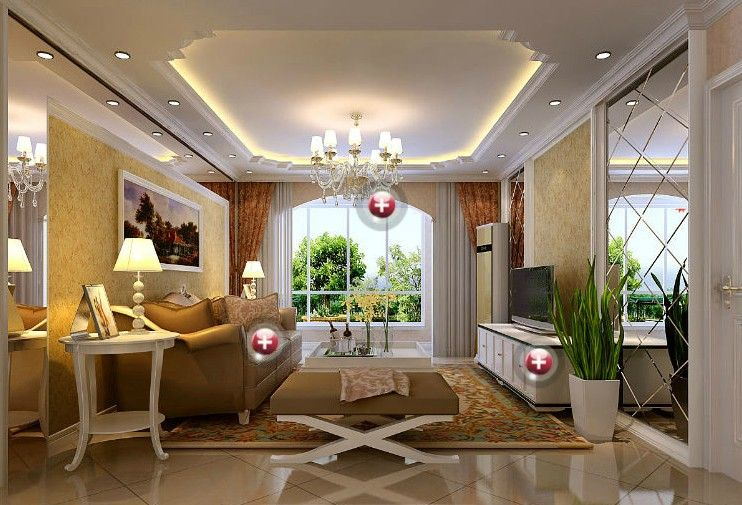 ceiling decorating ideas for living room. European style living room interior with fall ceiling decorations