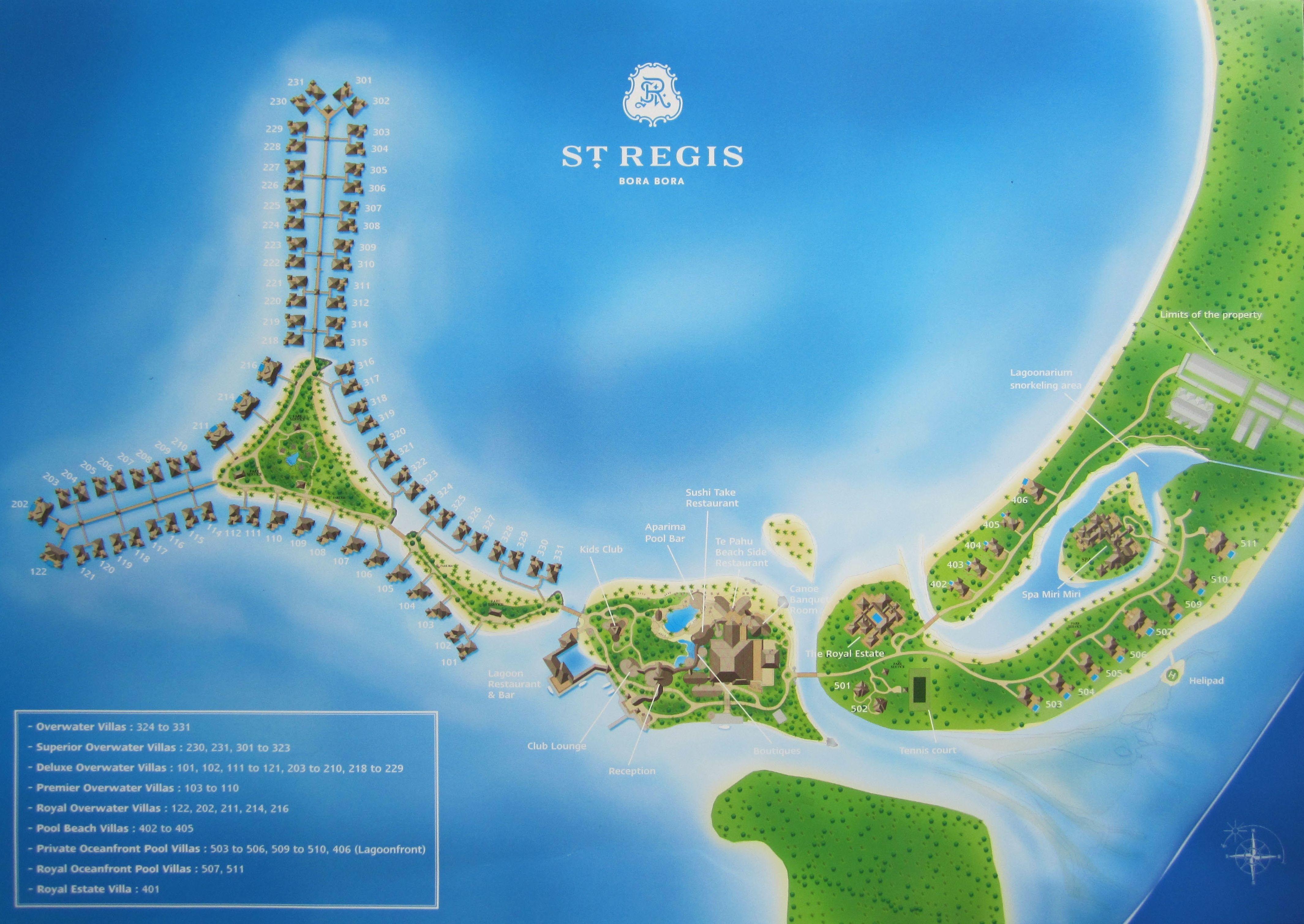 The St Regis Bora Bora Resort Map Bora Bora Resorts