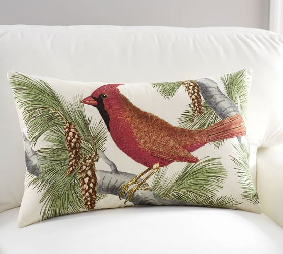 Winter Fauna Cardinal Lumbar Pillow Cover Holiday Decor