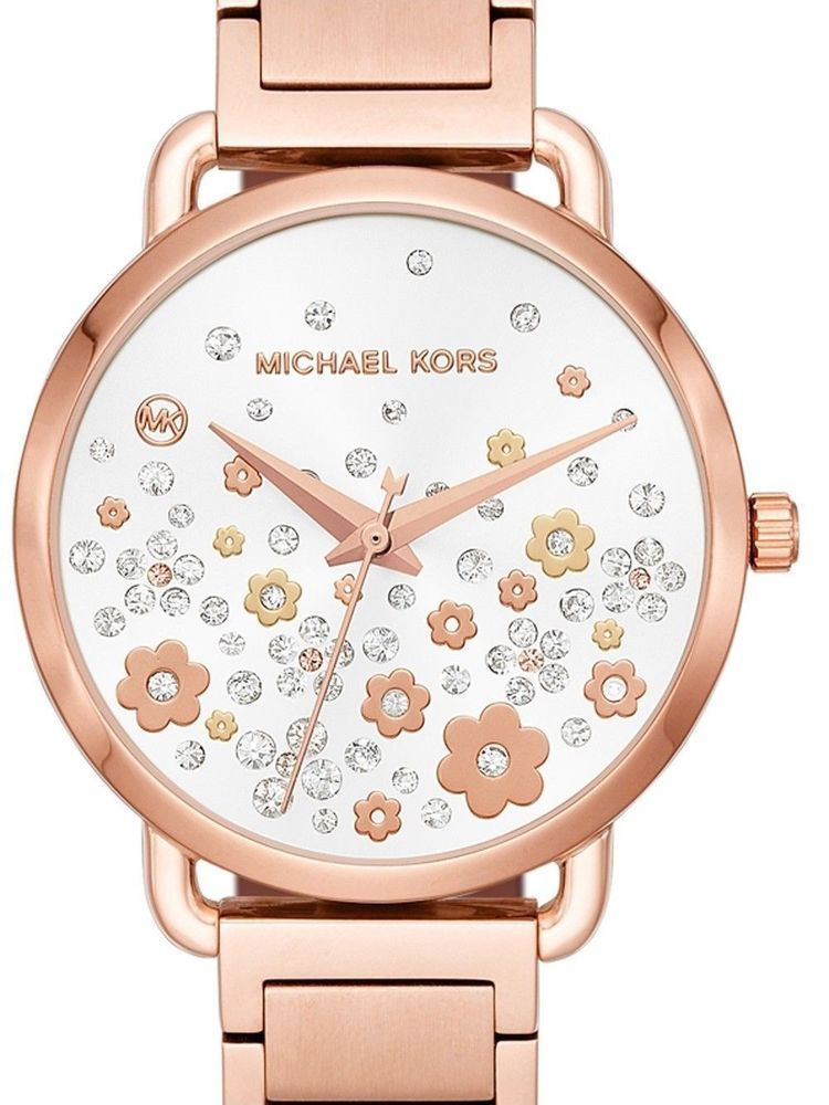6fdd74684e23 NIB Michael Kors Women s Portia Rose Gold-Tone Floral Bracelet Watch MK3841.  Visit. December 2018