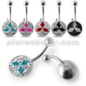 Mitsubishi Crystal Stone Belly Ring with steel Base - Piercebody