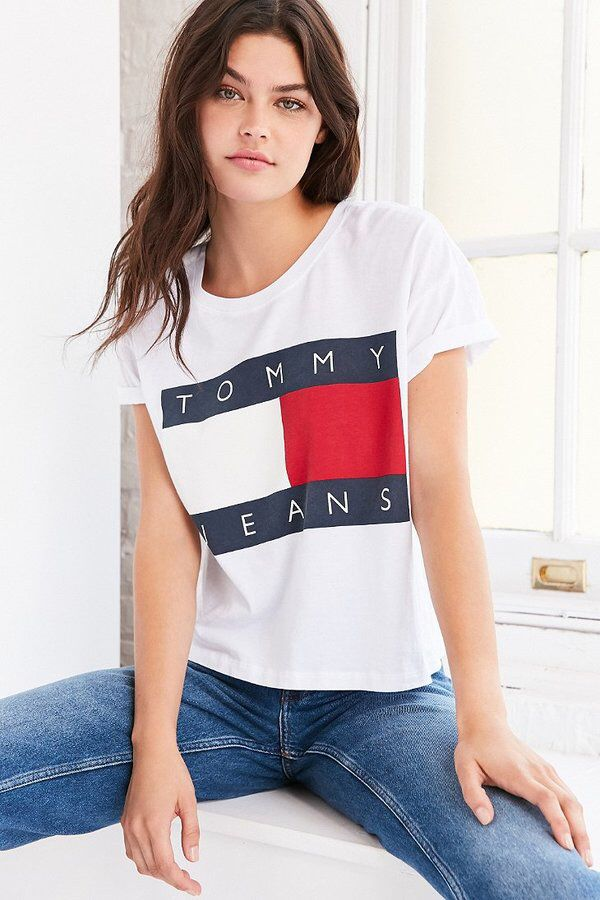 ISO TOMMY SHIRT Grey or white in size Small- medium! Should be the tommy  jeans shirt Tommy Hilfiger Tops Tees - Short Sleeve