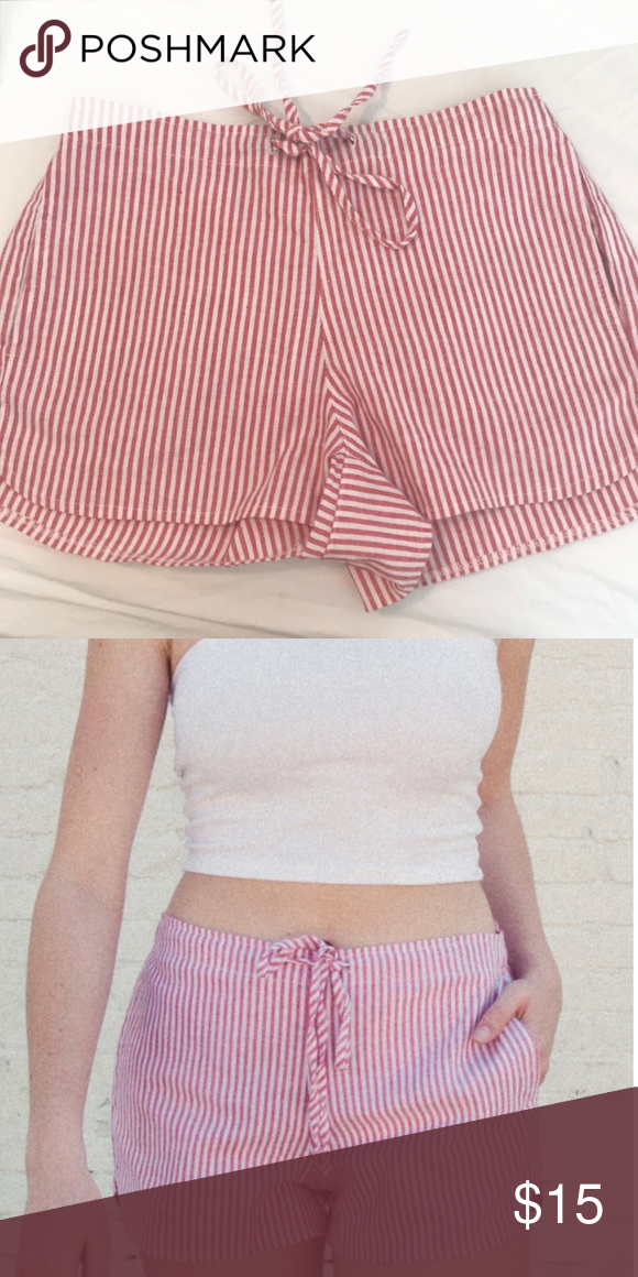 """7bdb788d10 Brandy Melville """"Summer Shorts"""" NEVER WORN Red and white striped shorts"""
