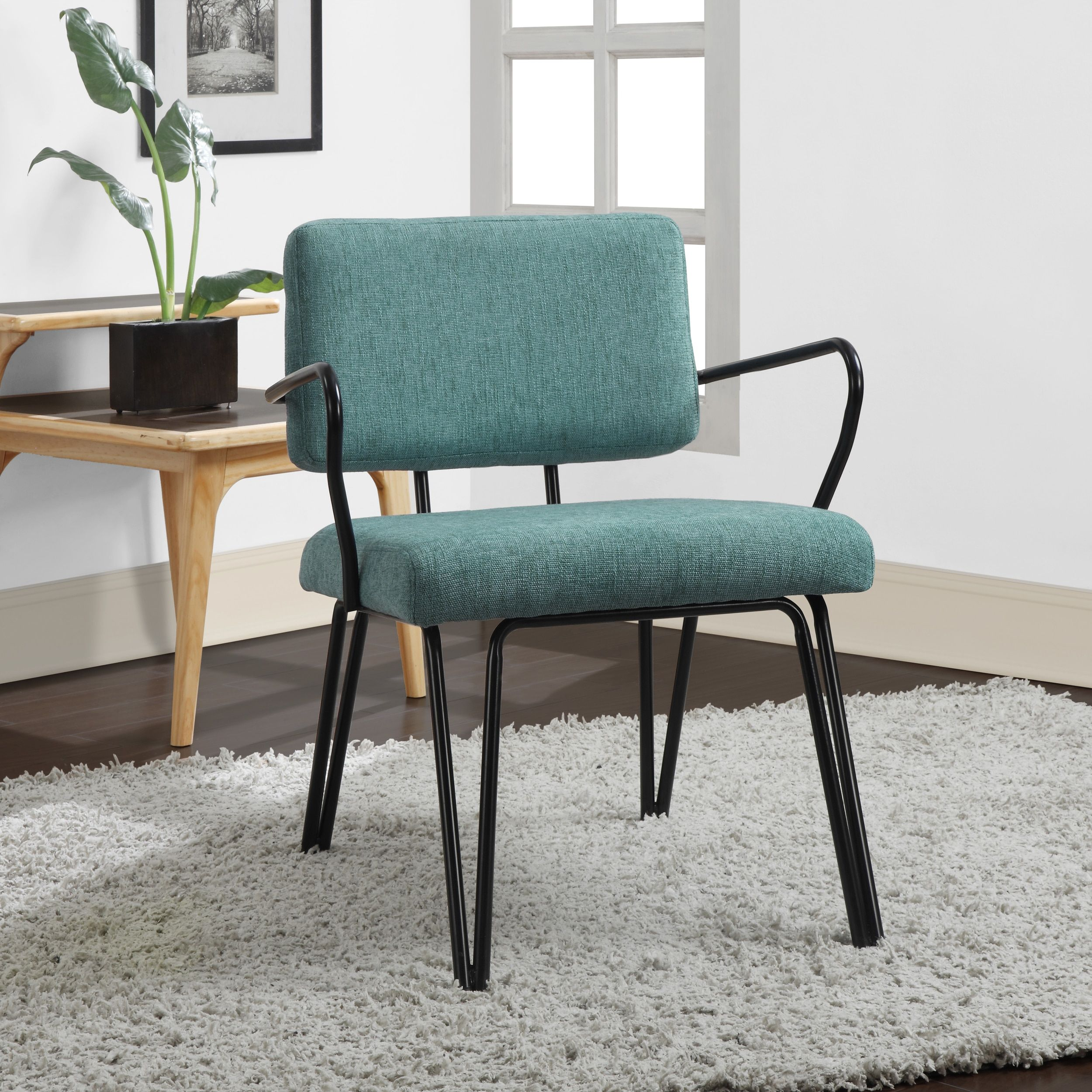 Living Room Furniture Free Shipping Palm Springs Blue Upholstery Mid Century Accent Chair By I Love