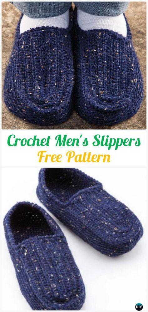 Crochet Men\'s Slippers Free Pattern #Crochet | crochet patterns ...
